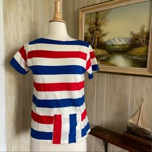 1960's Striped Summer Tee with Pocket
